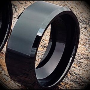 Polished Black Tungsten Steel Ring Band Size: 6